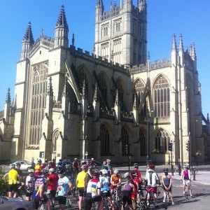 Cycling club VC Walcot meet up every weekend for group rides at Bath Abbey