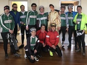 Velo Club Walcot members line up with Elvis Presley mascot prior to Barrys Bristol Blast Audax cycle ride