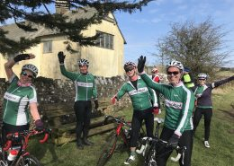 Velo Club Walcot members smiling and waving at Barrys Bristol Blast cycle ride