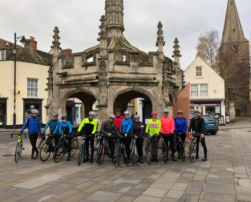 Cyclists from Velo Club Walcot from Bath UK ride a total of 50 miles on a Sunday via Malmesbury in Wiltshire